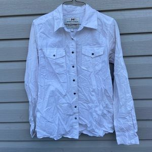 Roots Canada Womens Large White Blouse Button Up